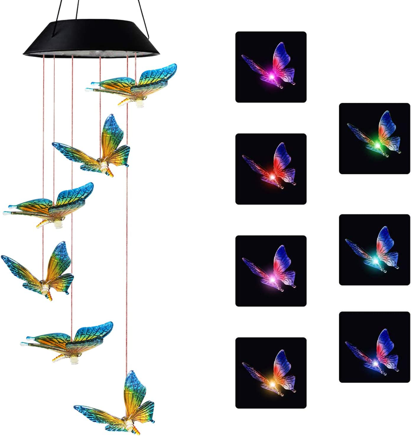 X-PREK Solar Butterfly Wind Chimes for Outside, Gifts for Mom Color-Changing Hanging Mobile Wind Chime Outdoor Waterproof LED Solar Light Porch Deck Garden Patio Decor (Blue Butterfly)