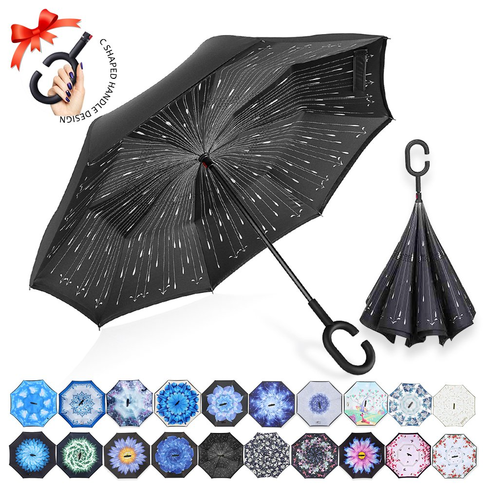 ZOMAKE Double Layer Inverted Umbrella Cars Reverse Umbrella, UV Protection Windproof Large Straight Umbrella for Car Rain Outdoor With C-Shaped Handle (Rainy Day)