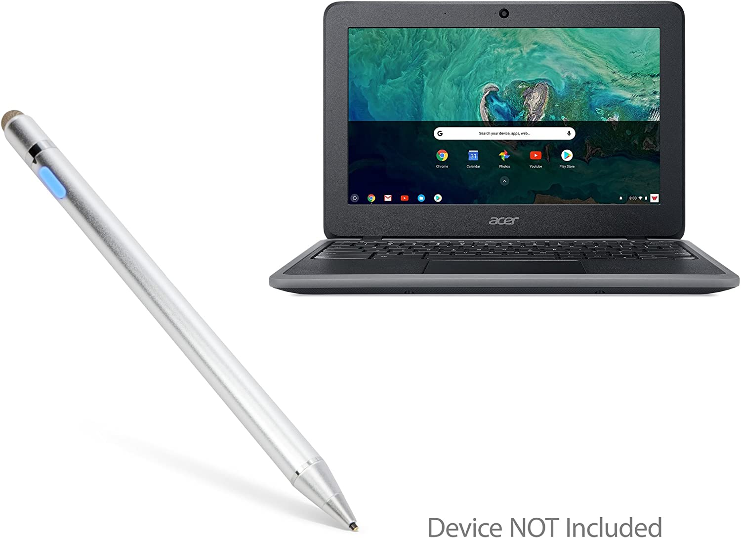 Acer Chromebook 11 (C732) Stylus Pen, BoxWave [AccuPoint Active Stylus] Electronic Stylus with Ultra Fine Tip for Acer Chromebook 11 (C732) - Metallic Silver