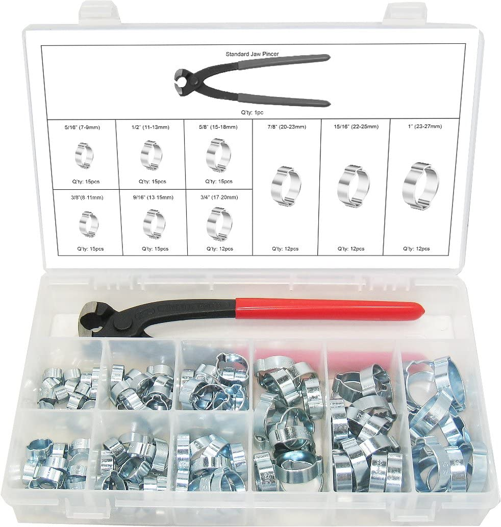 "SWORDFISH 30310-2 Ear Hose Clamp and Standard Jaw Pincer Assortment Kit, 124 Pieces, 9 Sizes Ear Clamps from 5/16"" to 1"" (9mm-27mm)"