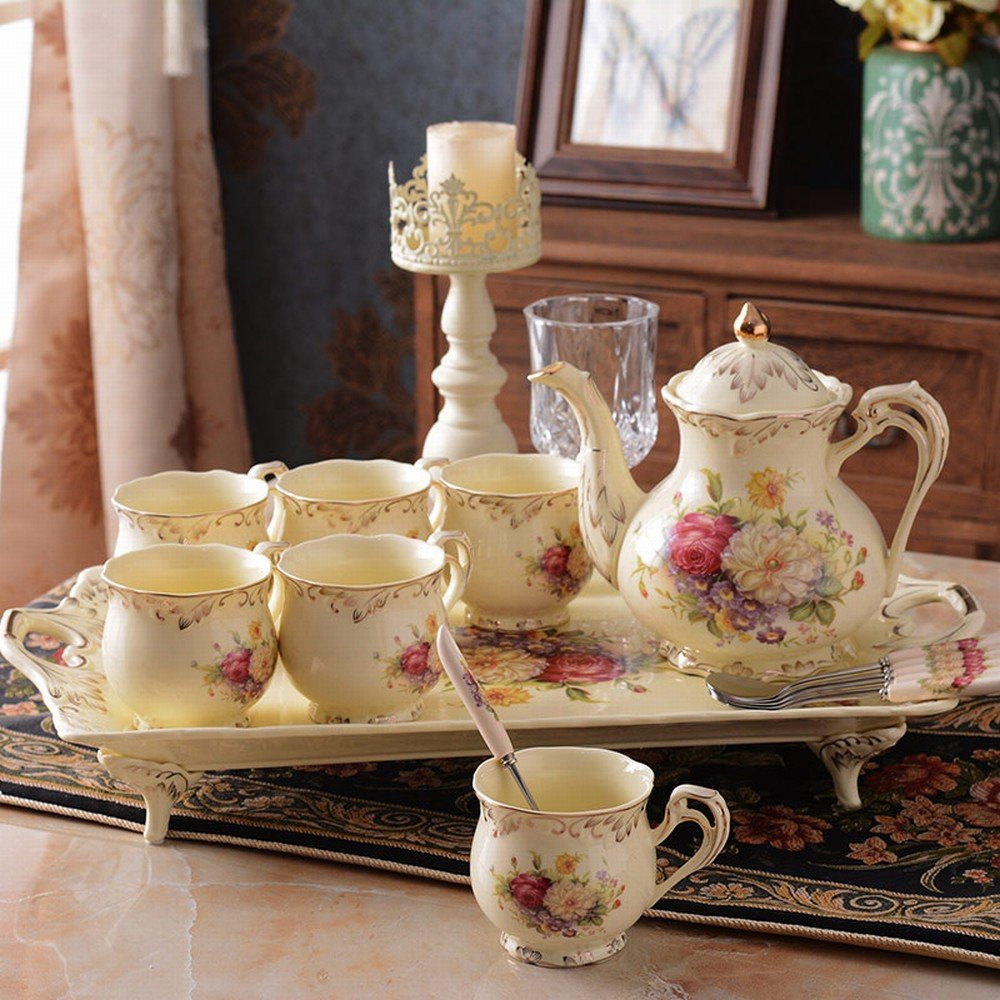 DHG Cup Set English Afternoon Tea Tea Set Cup Ceramic Cup Household Coffee Cup Set Continental Cup,A