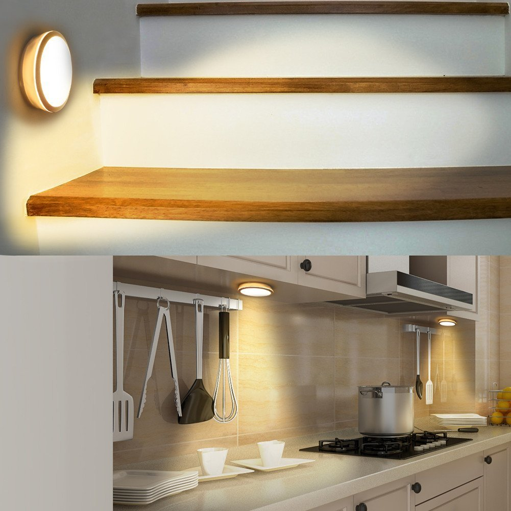 luces de pared seguras para escaleras de pasillo inal/ámbricas armario de cocina,2P dormitorio luces de seguridad en cualquier lugar para interior y exterior Luces LED Haiyitong de luz nocturna con sensor de movimiento