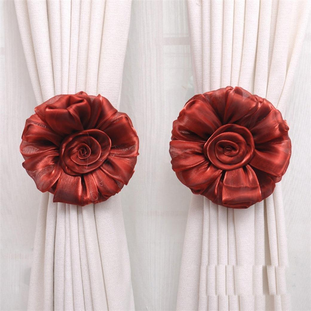 DZT1968®1 Pair Rose Flower Window Treatment Curtain Holdback Decor Tieback (Red)