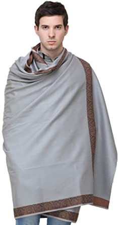 e73a98d9799a2 Exotic India Plain Men's Shawl with Brown Woven Border - Color Gray at  Amazon Women's Clothing store: