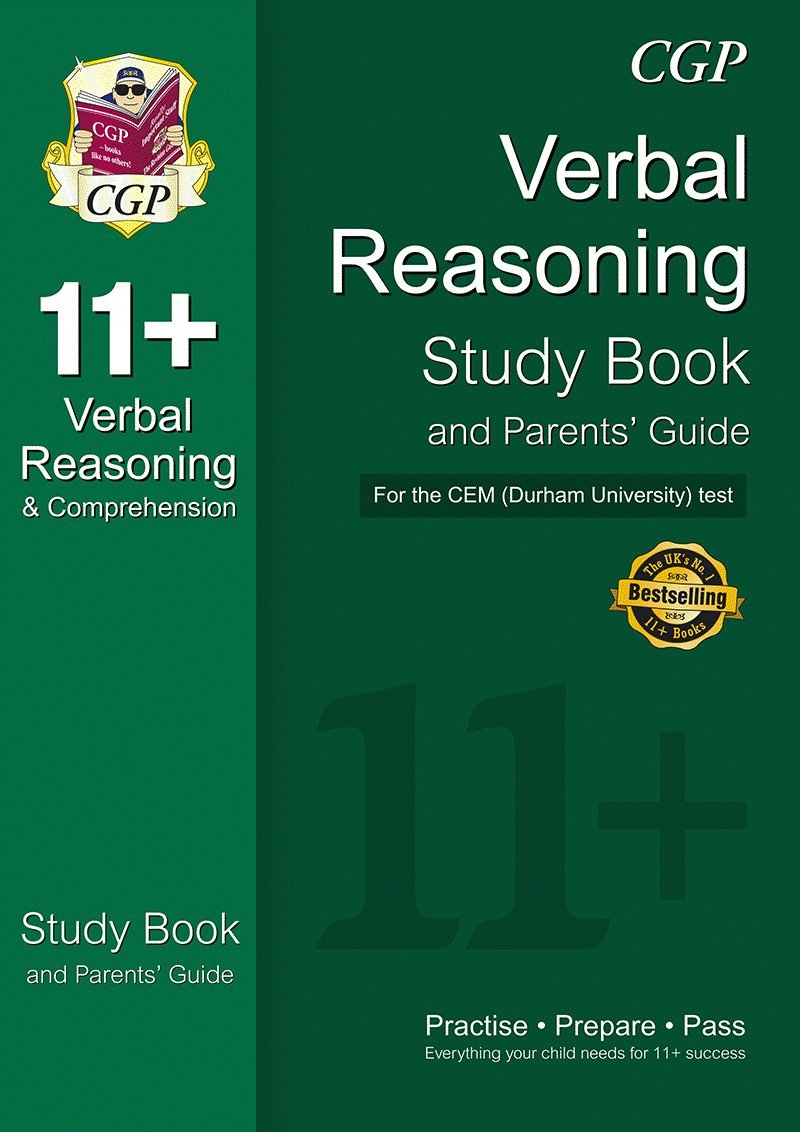 11 verbal reasoning study book and parents guide for the cem test