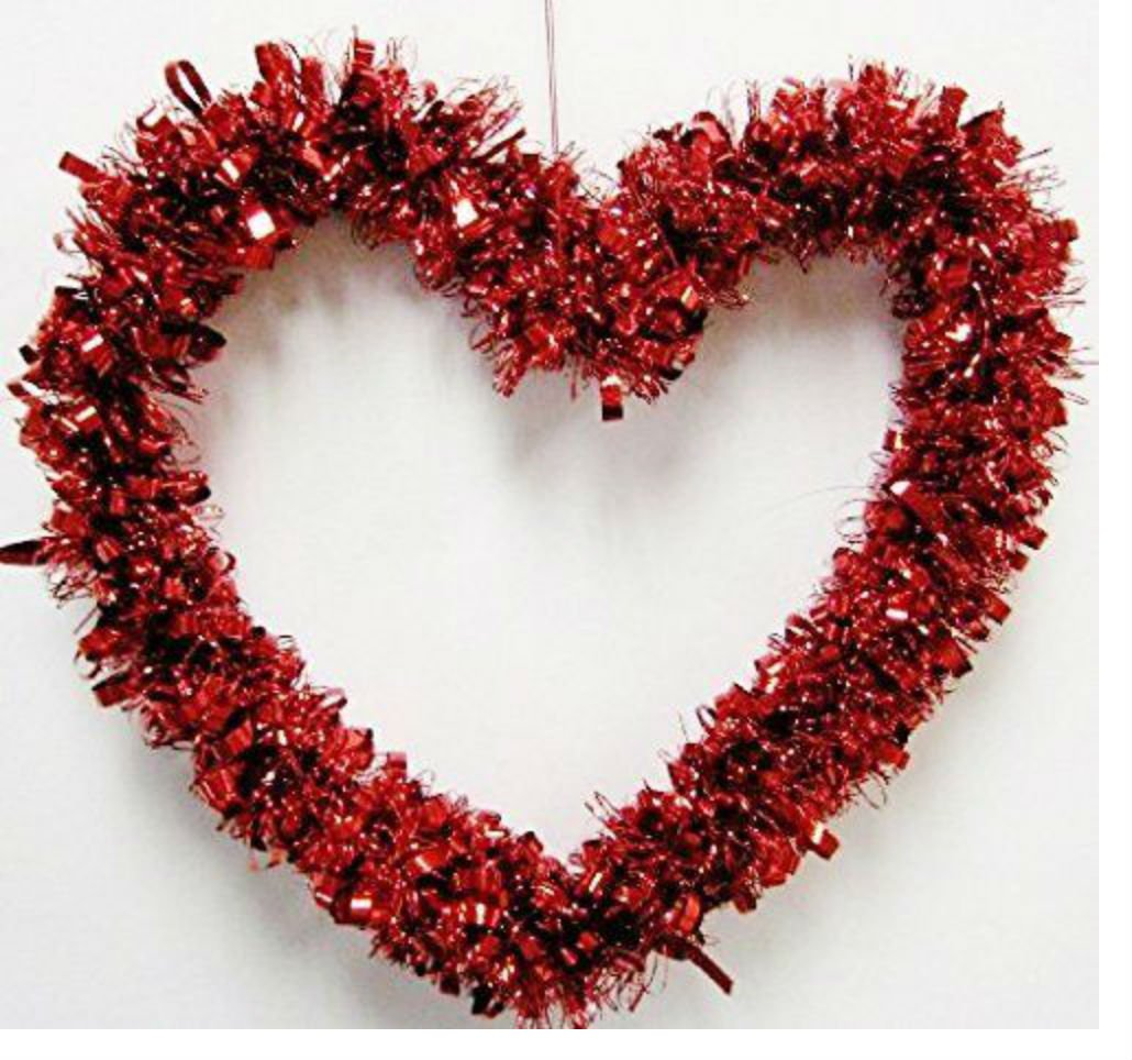 Valentine's Day Red Heart Shape Tinsel Garland Wreath Door Hanger Wall Décor 14''