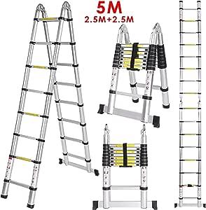 5M Escalera Telescópica,Escalera Plegable(2.5m+2.5m),Escalera Aluminio,Carga de 150 KG(16.4FT, Multi-propósito Extensible, Buena Calidad, Mayor Seguridad): Amazon.es: Bricolaje y herramientas