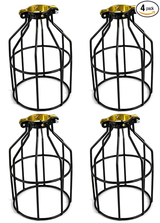 Amazon com newhouse lighting metal lamp guard for pendant string lights and vintage lamp holders industrial wire iron bird cage 4 pack home improvement