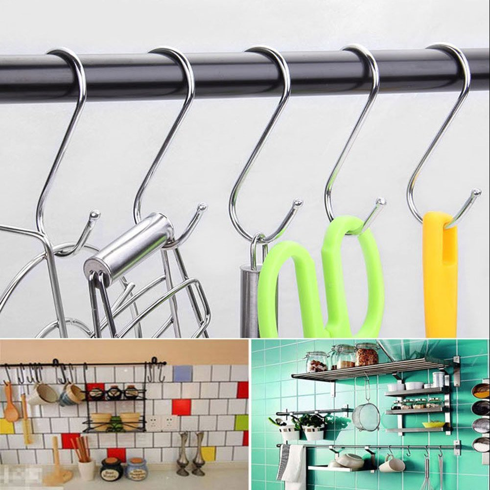 15 Pcs S Hooks, Round S Shaped Hooks S Hanging Hooks Hangers in Polished Stainless Steel Metal for Kitchen, Bedroom and Office by Trubetter (Image #3)