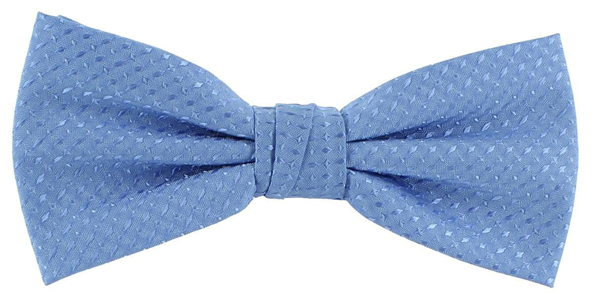 Ice Blue Michelsons of London Mens Semi Plain Bow Tie and Pocket Square Set