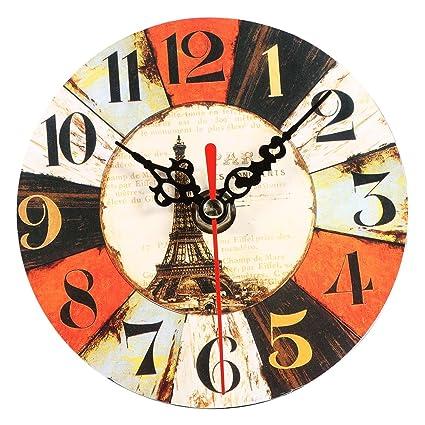Yosoo Reloj de pared redondo de madera, reloj de pared vintage, decoración