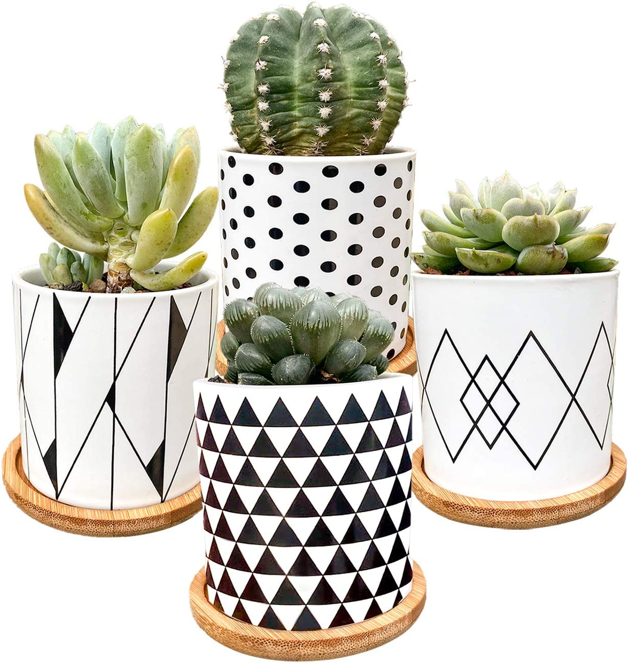 Succulent Plants Pots,Flower Pots Geometry Pots for Plants Planter Pots Indoor&Outdoor Ceramic Plants Pots for Cactus with Drain Hole and Bamboo Tray,Set of 4