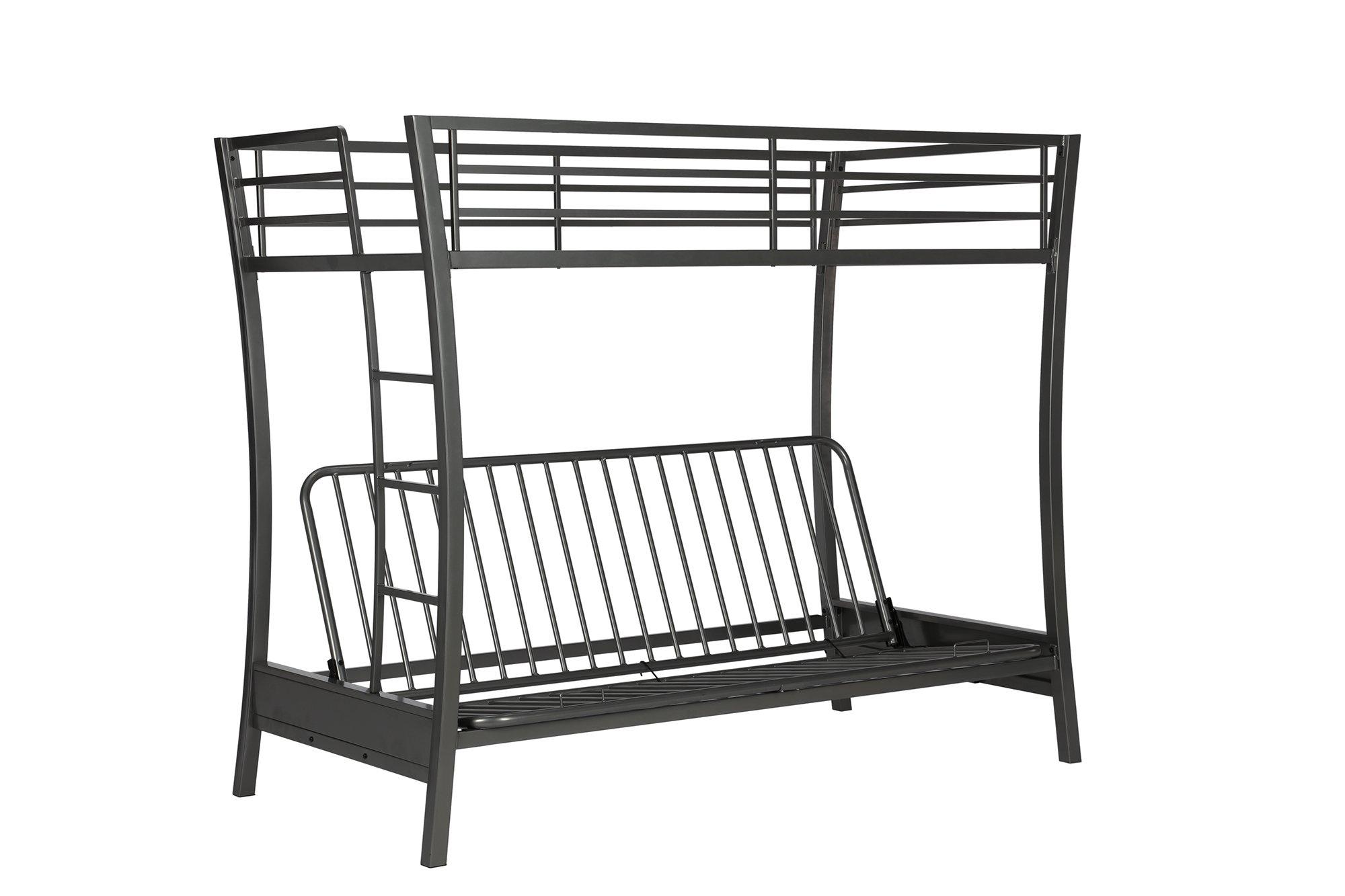 Novogratz Brett Twin Over Full Size Futon Bunk Bed, Multi-functional Design in Sturdy Meta with Sleek Slanted Legs, Includes Metal Slats, Gunmetal Gray