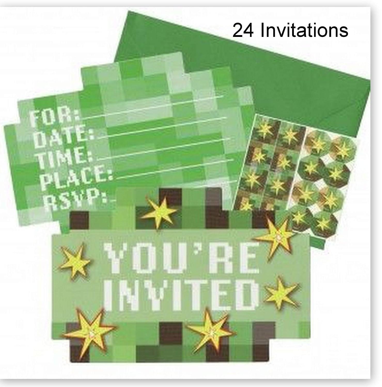 Hallm TNT Party Videogame Pixel Mine Theme Decoration Party Birthday Invitations Invite 24PC