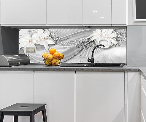 Küchenrückwand abstrakte Lilien grau silber Nischenrückwand ...