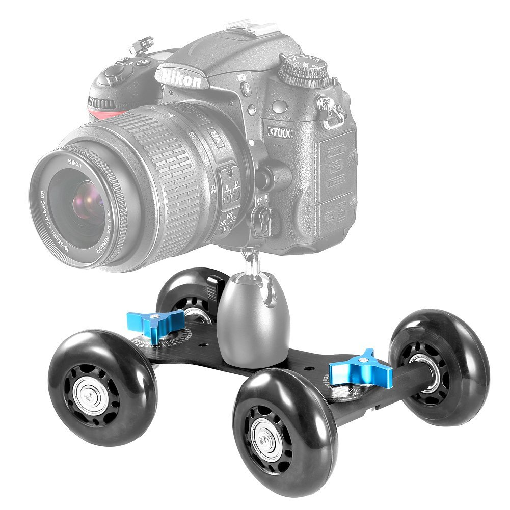 Neewer Camera Dolly Kit Includes: Mobile Rolling Sliding Dolly Car Skater and Extendable Selfie Stick Handheld Monopod 9-40 inches/23-108 centimeters for Nikon Canon Sony DSLRs and Video Camcorders