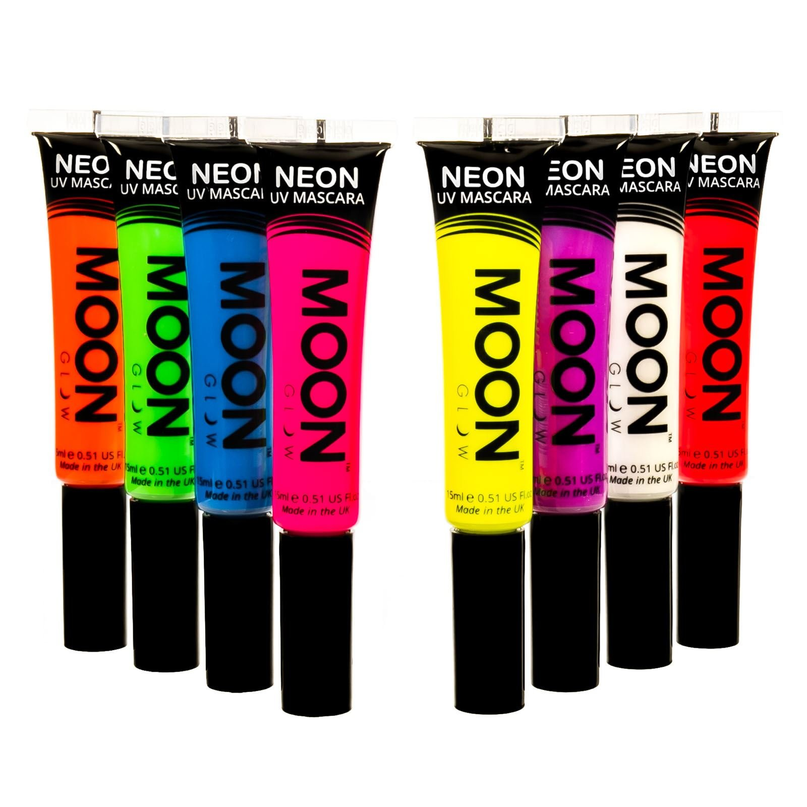 Moon Glow - Blacklight Neon Mascara 0.51oz Set of 8 colors - Glows brightly under Blacklights / UV Lighting!