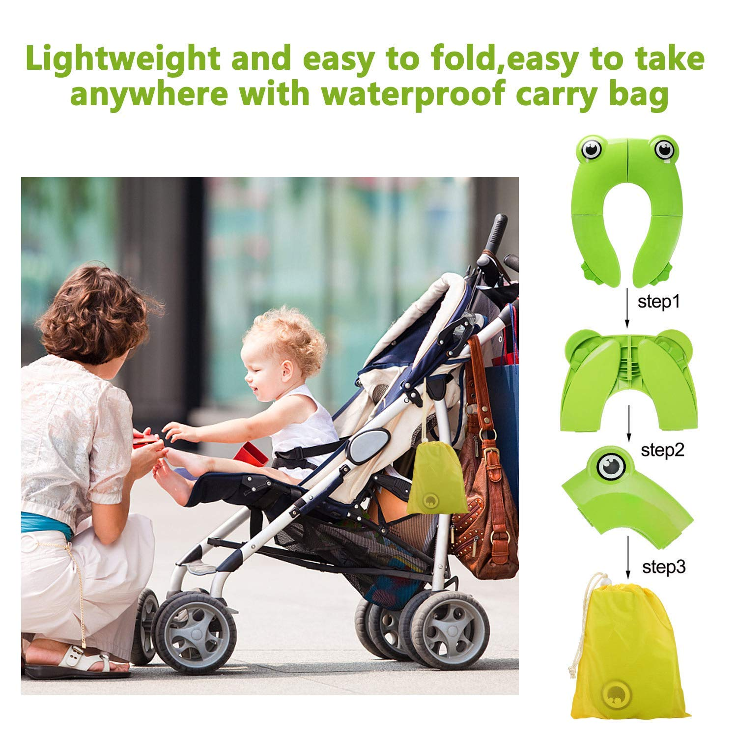 Toddlers and Kids Huiron Jinmi Portable Potty Seat On Toilet Foldable Travel Potty Training Seat with Large Non Slip Silicone Pads with Carry Bag Covers for Babies