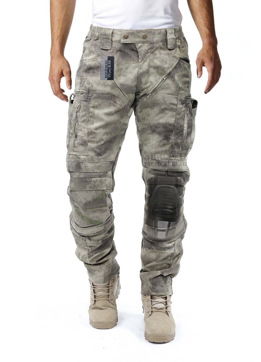 Survival Tactical Gear Men's Airsoft Wargame Tactical Pants with Knee Protection System & Air Circulation System (AU Camo, L) by Survival Tactical Gear