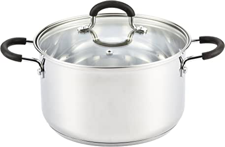 Cook N Home 5 Quart Stainless Steel Lid Stockpot saucier, 5 QT, Silver