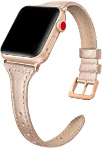 SWEES Leather Band Compatible for iWatch 38mm 40mm, Slim Thin Elegant Genuine Leather Strap Compatible for iWatch Series 6, 5, 4, 3, 2, 1, SE, Sport & Edition Women, Rose Gold