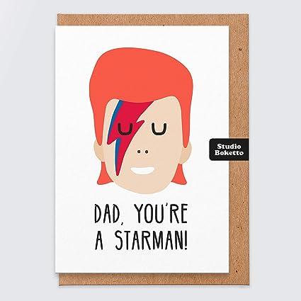 STAR Papa carte David Bowie Starman A6 Carte de vœux Papa Anniversaire