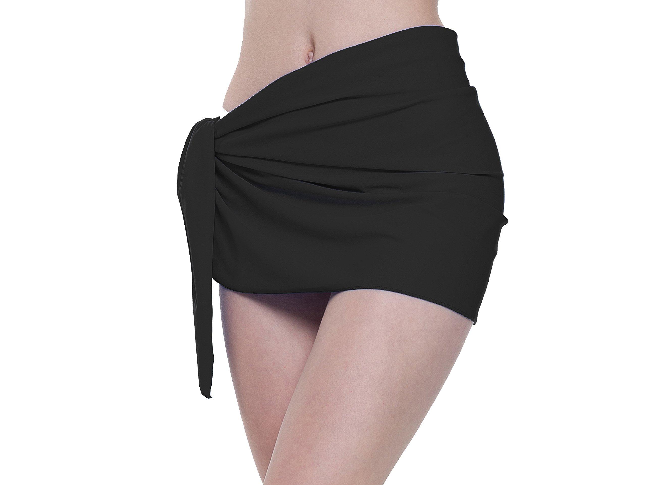 Sythyee Women's Sarong Wrap Beach Swimwear Nylon Cover up Short Pareo Bikini Swimsuit Wrap Skirt Bathing Suit Nylon Solid Black