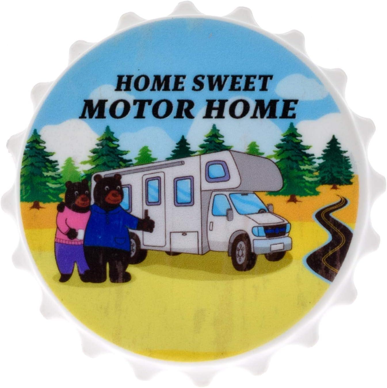 Magnetic Bottle Opener for Refrigerator - Black Bear Home Sweet Motor Home Beer Bottle Opener Wall Mount - Bar Accessories and Gifts Bottle Cap Opener