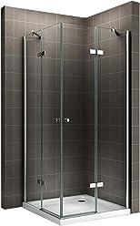 i-flair Duschkabine Eckkabine mit Eckeinstieg aus 6mm ESG Sicherheitsglas #19 auch SPIEGELVERKEHRT MONTIERBAR! (80cm x 80cm ohne Duschwanne)