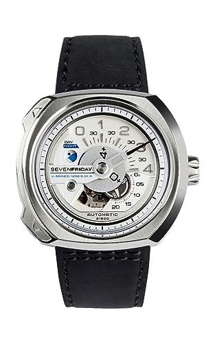 SEVEN FRIDAY V-SERIES RELOJ DE HOMBRE AUTOMÁTICO 50MM CORREA DE CUERO V1/01: Amazon.es: Relojes