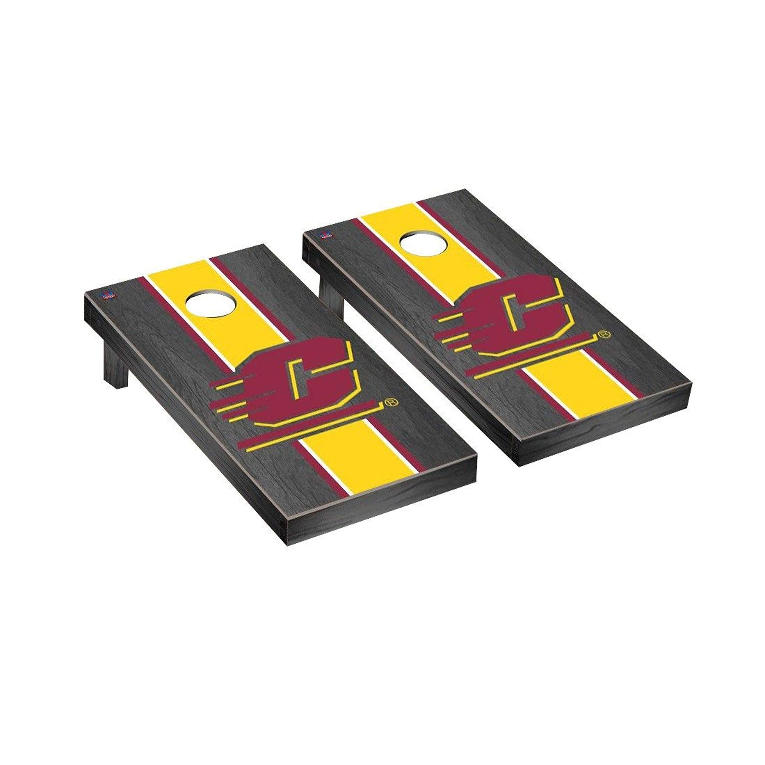 Victory Tailgate Regulation Collegiate NCAA Onyx Stained Stripe Series Cornhole Board Set - 2 Boards, 8 Bags - Central Michigan Chippewas by Victory Tailgate