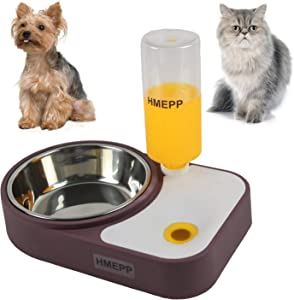 HMEPP Dog Cat Pets Water and Food Bowls with Automatic Water Dispenser for Small or Medium Size Dogs Cats,Stainless Steel Pet Bowls No-Spill Resin Station,Puppy Water Dispenser Station (Brown)