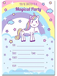 unicorn - Girl Birthday Party Invitations