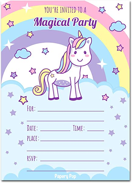30 Unicorn Birthday Invitations With Envelopes Pack