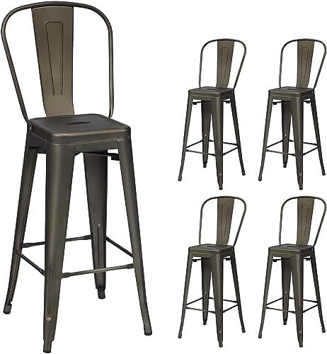COSTWAY Metal Bar stools Set of 4