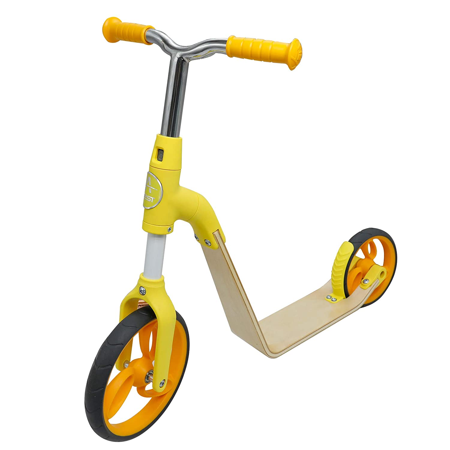 AEST Correpasillos Y Patinete 2 En 1 Bicicleta Sin Pedales Reversible Scooter 2 Ruedas Niño Niña 3-5 Años - Color Amarillo
