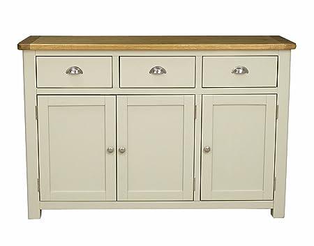 Aspen Painted Oak Sage/Large Grey 3 Door 3 Drawer Sideboard/Dresser Base