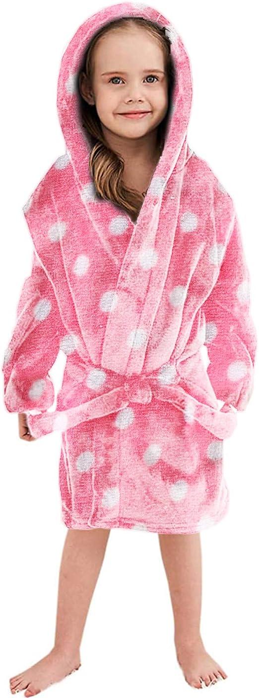 Toddler Boys Girls Children Print Thick Warm Flannel Bathrobe Night-Robe Pajamas for 1-10 Years Old