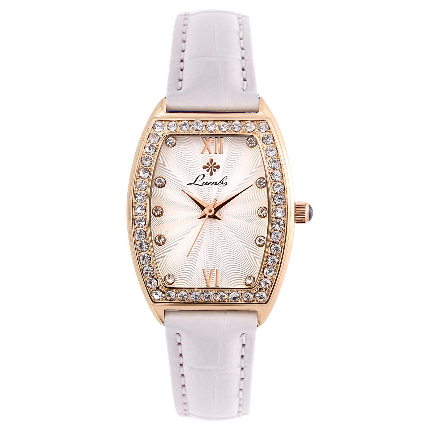 Womens Watch,Lambo Fashion Elegant Casual Waterproof Quartz Wrist Watches for Ladies and Girls with Comfortable Genuine Leather Band (White)