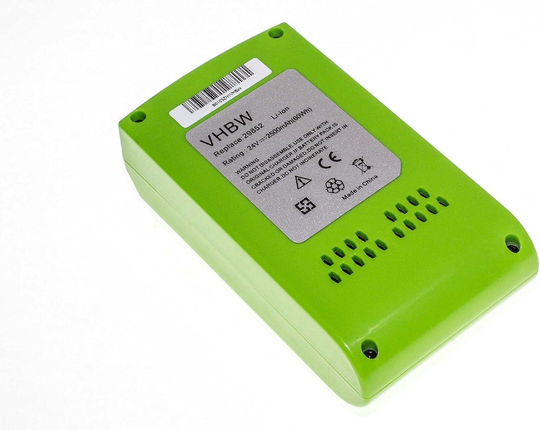 vhbw Li-Ion Batería 2500mAh (24V) para su herramienta electrónica Greenworks 2400007 Tools 24V, 24352, G-24, G24 por 29322.