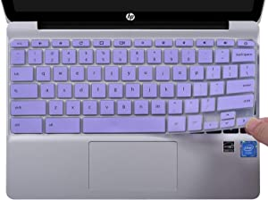 "CaseBuy Ultra Thin Keyboard Cover Compatible with HP Chromebook x360 11.6"" & HP Chromebook 11 G2 / G3 / G4 / G5 / G6 EE 11.6 Inch Chromebook Protective Skin(NOT Fit HP Chromebook G5 EE), Purple"
