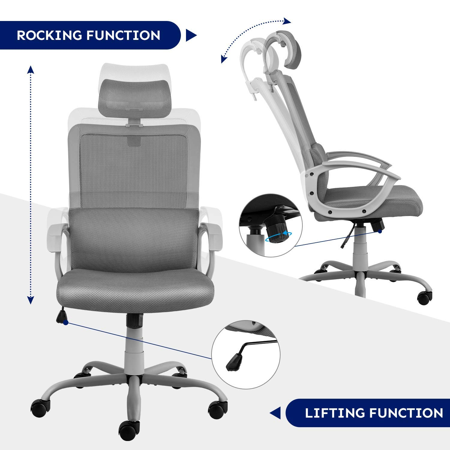 Smugdesk Ergonomic Office Chair High Back Mesh Office Chair Adjustable Headrest Computer Desk Chair for Lumbar Support, Grey by Smugdesk (Image #6)