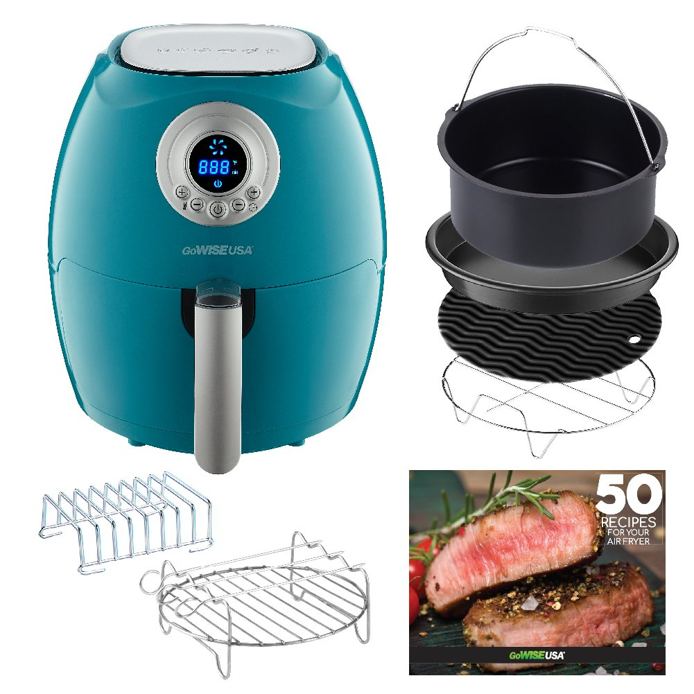 GoWISE USA 2.75-Quart Air Fryer with 6 Piece Accessory Set + 50 Recipes for your Air Fryer Book (Teal)