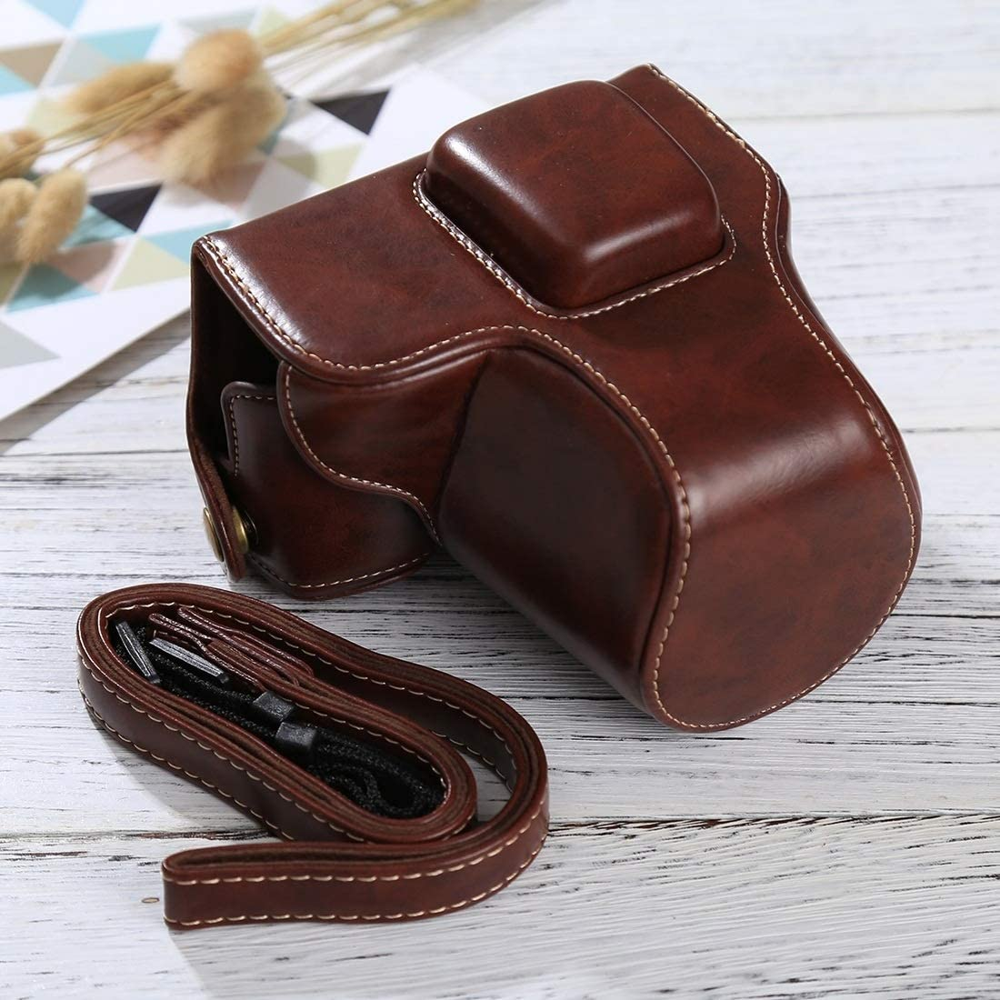 EPL8 MEETBM ZIMO,Full Body Camera PU Leather Case Bag with Strap for Olympus EPL7 Color : Coffee Black