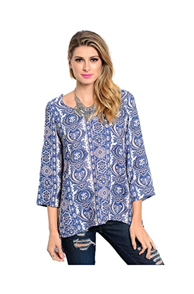 2LUV Camisas - Manga Larga - para Mujer Blue & Peach Small