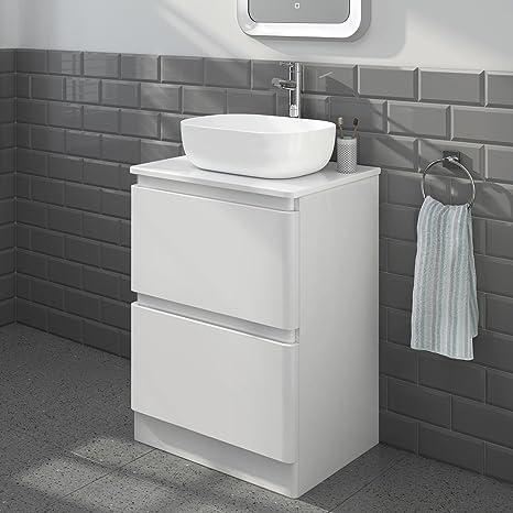 Arredo bagno moderno lavandino da cassettiera da pavimento bianco ...