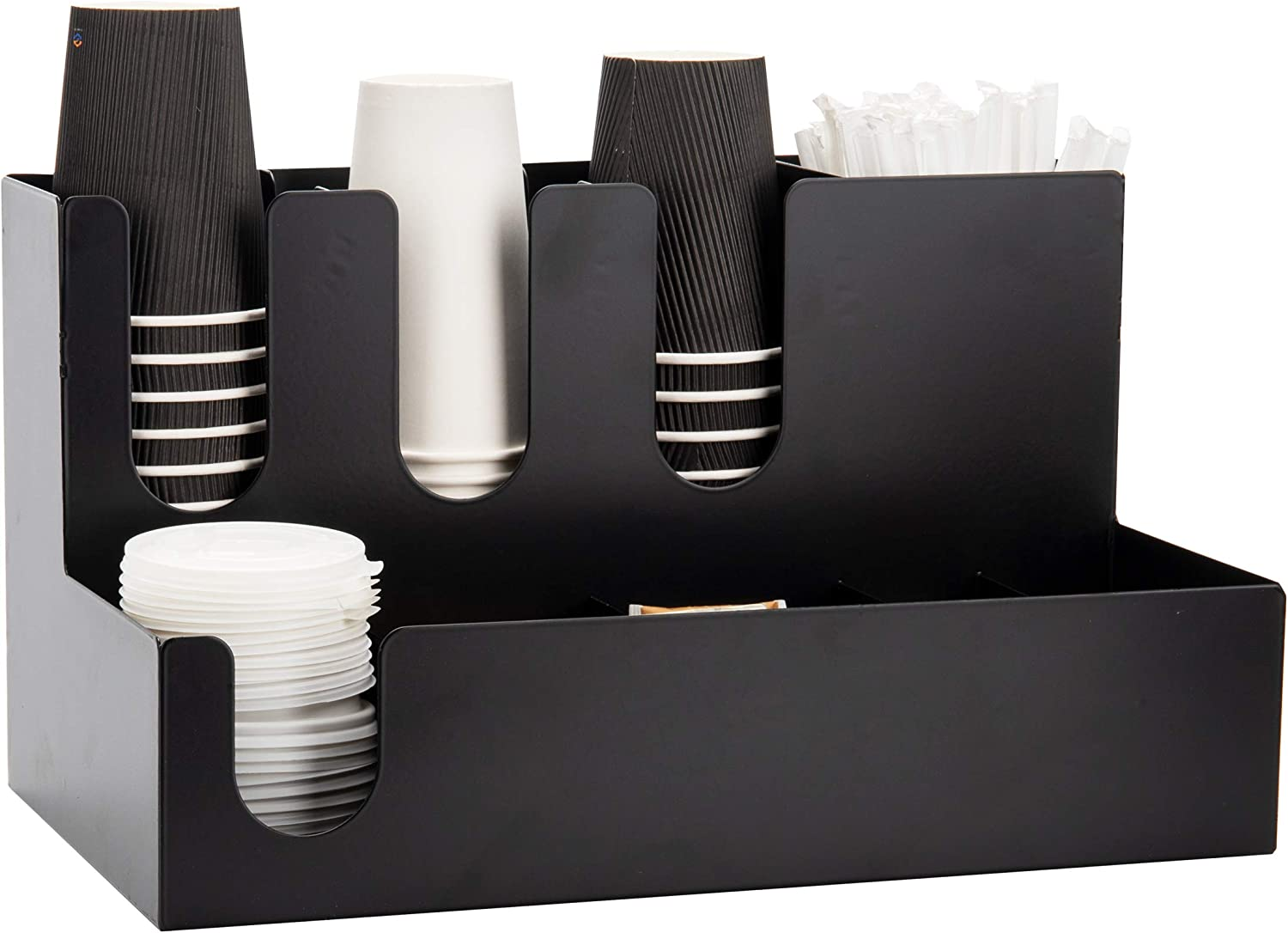 Mind Reader Super Condiment Station Multi-Section Organizer for Hot or Cold Disposable Cups, Lids, Straws, Utensil Storage, Stainless Steel, Black