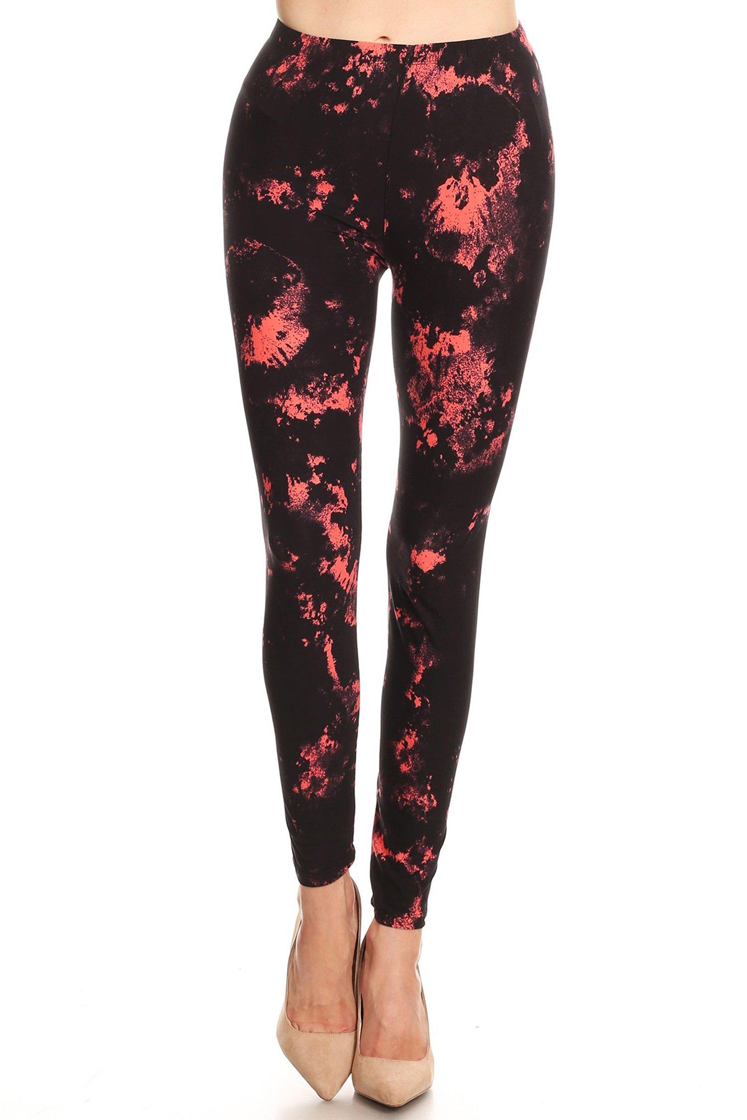 Leggings Mania Women's Tie Dye Print High Waist Soft Leggings Plus Coral Black