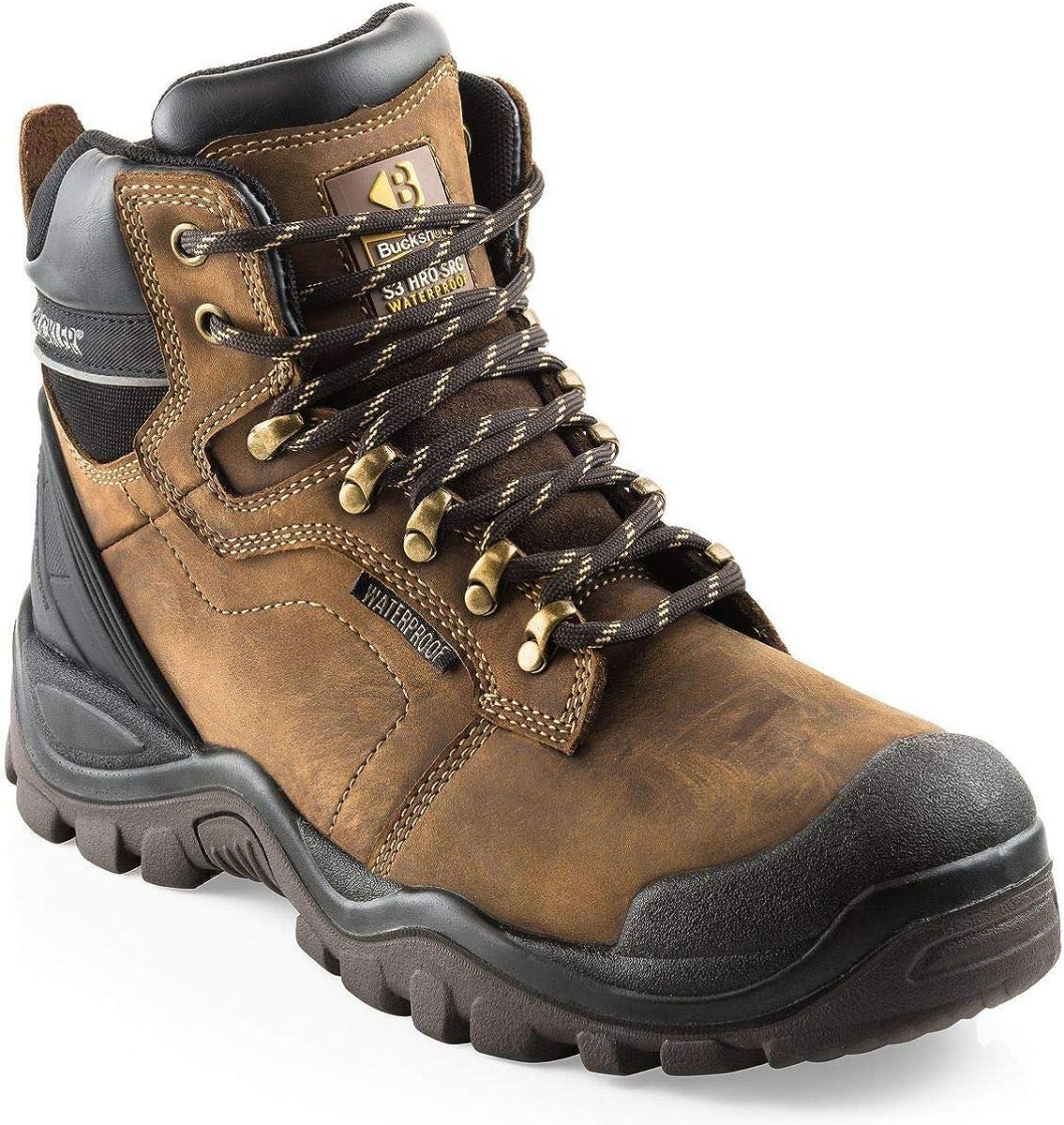 Buckler BSH009BR Buckshot Dark Brown Lace Work Safety Boots UK Sizes 6 13