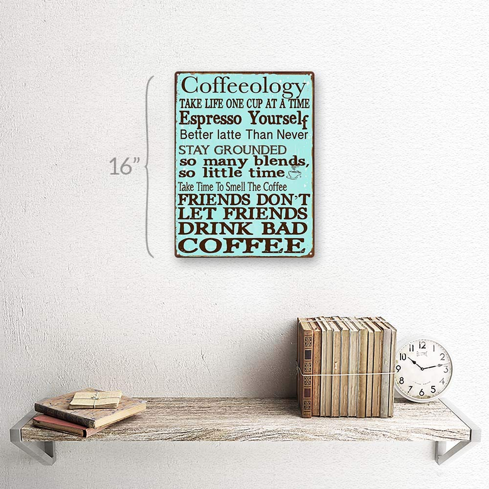 Amazon.com: Coffeeology Metal Sign, Coffee Lovers, Kitchen Decor ...